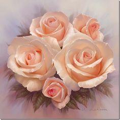 Imagens de Rosas pintadas em tela.