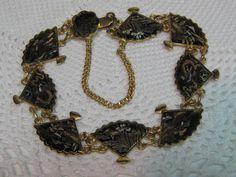 Vintage Damascene Fan Bracelet Storks Dragons by thebestofvintage