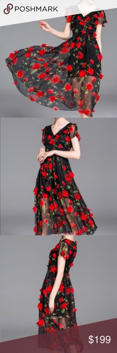 Rose floral appliqué midi dress Rose red appliqué midi dress. 100% polyester. Fabric has no stretch. Sheer overlay, may need a longer slip. New without tags. Never worn. Ships within 7 business days. Fox&Lace Dresses