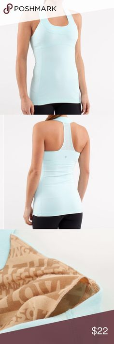 Lululemon Scoop Neck Tank Heathered Aquamarine scoop neck, great condition, slight discoloration under arm pits, otherwise gorgeous and ready for the gym lululemon athletica Tops Tank Tops