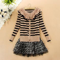 $12.99 Mori Girl Ruffled Collar Cardigan Sweater at Online Apparel Store Gofavor