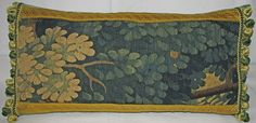 Long Antique Aubusson Verdure Tapestry Pillow  by FromAFrenchAttic
