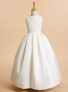9b5260e47355 A-Line Ankle Length Flower Girl Dress - Lace   Satin Sleeveless Jewel Neck  with Lace by LAN TING BRIDE®