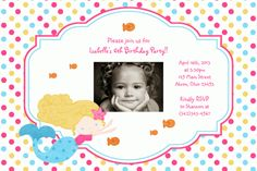 Mermaid Birthday Photo Invitations Thank You Notes Favors Address Labels Baby Shower Custom (Powered by CubeCart) Photo Birthday Invitations, Card Birthday, Birthday Photos, Birthday Parties, Mermaid Photos, Mermaid Birthday, Thank You Notes, Address Labels, Photo Cards