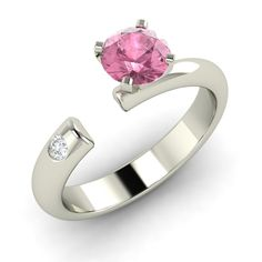 Pink Tourmaline Unique Ring in 14k White Gold with SI Diamond By Diamondere in Jewelry & Watches   eBay
