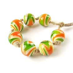 Glass Lampwork Bead Set Handmade Glass Beads от FolgaOlgaBeads