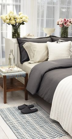 Life's not black and white. Live it up in the grey area with high thread count Threshold  bedding in sophisticated shades from dove to slate.