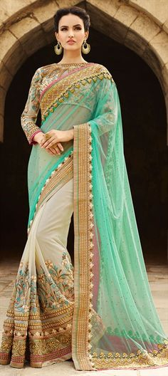 180739 Green, White and Off White color family Bridal Wedding Sarees in Faux Georgette, Net fabric with Lace, Machine Embroidery, Resham, Stone work with matching unstitched blouse.