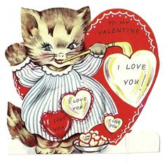 SWEET GIRL KITTY CAT BLOWS HEART SHAPED LOVE BUBBLES / VINTAGE VALENTINE CARD