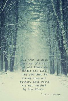All that is gold does not glitter, not all those who wander are lost the old that is strong does not wither, deep roots are not reached by the frost. -JRR Tolkien