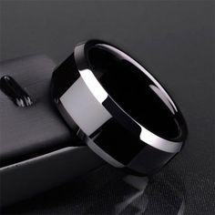8mm Black Tungsten Ring Wedding Ring for Men