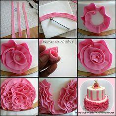 Various cake decorating ideas and tutorials using fondant and gumpaste Fondant Rose, Fondant Flowers, Rose Icing, Fondant Baby, Sugar Flowers, Fondant Toppers, Fondant Cakes, Cupcake Cakes, Car Cakes