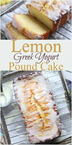 Greek yogurt pound cake is a moist homemade pound cake recipe that uses Greek yogurt in place of sour cream. So easy and so good! Desserts Sains, Köstliche Desserts, Lemon Desserts, Lemon Recipes, Healthy Dessert Recipes, Thm Recipes, Desserts With Greek Yogurt, Greek Dessert Recipes, Baking With Yogurt