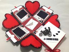 Caixa explosion box romântica (visão geral da caixa aberta com a tampa)
