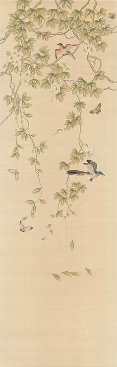 24 Simona 4 - Chinoiseries : The Decorator Archives Chinese Painting, Chinese Art, Dining Room Paint, Chinoiserie Wallpaper, Asian Decor, Traditional Paintings, Print Wallpaper, Art Deco Design, Watercolor Flowers