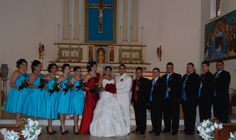 turquoise and red wedding | They ceremony was held at Christ the King Catholic Church in Houston.