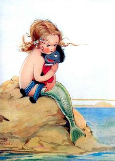 I LOVE MY GOLLIWOG X Mabel Lucie Atwell - child mermaid with her golliwog. The name Golliwog came from a doll character in children's books by Bertha Upton (died 1912), US writer, and Florence Upton (died 1922), US illustrator]