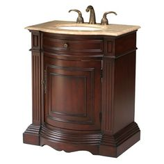 Exceptional Stufurhome 30 Inch Catherine Single Sink Vanity With Travertine Marble Top