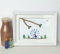 This adorable sea glass picture will make you think of your favorite place (the beach) and will make you smile. If you are purchasing as a gift be careful. You may have to fight temptation to resist keeping it for yourself! #seaglassart #homedecor #homeaccents #Novascotiaart #framedseaglass #forsale Peacock Pictures, Driftwood Wall Art, Blue Wall Decor, Sea Glass Art, Handmade Design, Nova Scotia, Framed Art, Smile, Bird