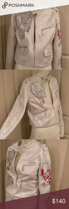 Ed Hardy by Christian Audigier embellished skull Great condition embellished classic jacket.  Shimmering cream with red, black, silver & gold embellishments. Ed Hardy by Christian Audigier Jackets & Coats