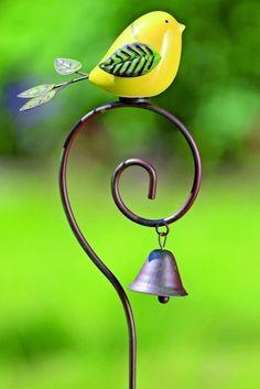 Tuinprikker vogel Selin met bel #garden