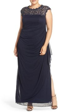 7860ae2cf4e Alex Evenings Lace Yoke Empire Mesh Gown (Plus Size) available at   Nordstrom Midnight
