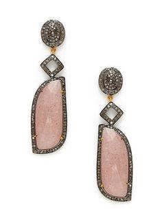 Karma Jewels Lt. Brown Moonstone & Cognac Diamond Geometric Drop Earrings