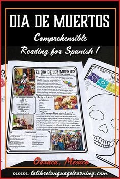 El Día de los Muertos Reading with Activities for Day of the Dead Spanish Teaching Resources, Spanish Activities, Writing Activities, Vocabulary Activities, Spanish Lesson Plans, Spanish Lessons, French Lessons, Spanish Teacher, Spanish Classroom