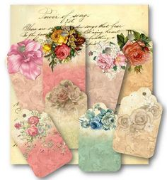 Vintage Floral Gift Tags Digital Collage Sheet by vintagebyme