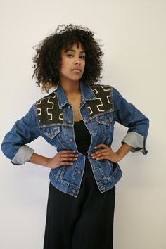 """BDWA """"Double Whammy"""" denim jacket. Upcycled African mudcloth & LEVI's denim jacket."""