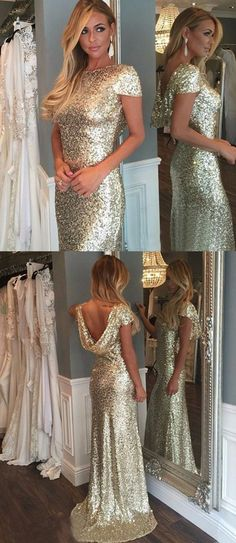 Sheath Bateau Short Sleeves Light Gold Sequined Bridesmaid Dress modest light gold sequined long bridesmaid dresses, elegant sheath low back wedding party dresses #bridesmaiddress #shortweddingdresses