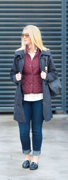 Layered Fall Outfit for Women with vest, and rain coat. How to Layer with a Vest Stylishly!