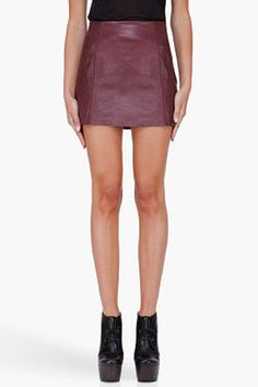 T by Alexander Wang - Burgundy Leather Miniskirt - $425.00 - Click on the image to shop now