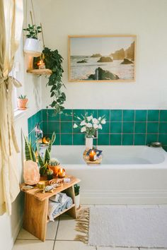 Before and After: An Ingenious Fix for Ugly Rental Bathroom Tiles. This rental bathroom needed a little help, but nothing that would cost a ton of money or cost the residents their security deposit. Rental Bathroom, Boho Bathroom, Bathroom Styling, Bathroom Interior, Bathroom Inspo, Bathroom Colors, Bathroom Plants, Bathroom Green, Modern Bathroom