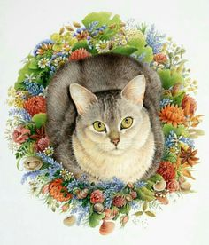 cat in floral wreath