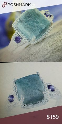 Rough cut larimar cushion cut Rough cut larimar could cut 5.65 carat simulated purple diamond ring in sterling silver nickel free Jewelry Rings
