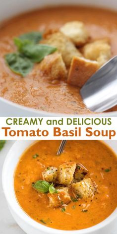 This creamy Tomato Basil Soup is loaded with hidden vegetables and is restaurant-quality DELICIOUS! Make it on the stove, slow cooker or Instant Pot. Tomato Bisque Soup, Creamy Tomato Basil Soup, Canned Tomato Soup, Tomato Soup Recipes, Healthy Soup Recipes, Cooking Recipes, Tomato Basil Soup Crockpot, Panera Tomato Soup Recipe, Blended Soup Recipes