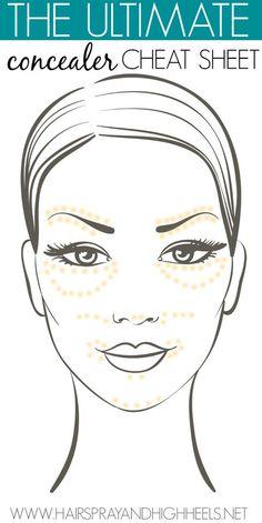 The Ultimate Concealer Cheat Sheet via #hairsprayandhighheels  #stepbystep #makeup #howto - bellashoot.com