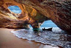 Sea Cave in Pintadinho Beach, Portimao, Portugal
