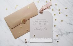 Brown Paper save the date bespoke cards