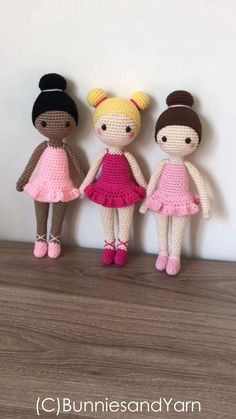 Fun little girls doll pattern. CROCHET PATTERN in English – Tracey the Ballerina Doll – Ballet – 11 cm. tall – Amigurumi Doll Crochet Toy – InGood girls PDF crochet two doll pattern by MyCroWonders on Etsy - Salvabrani I'm in love with thi Crochet Simple, Cute Crochet, Crochet For Kids, Crochet Doll Pattern, Crochet Patterns Amigurumi, Amigurumi Doll, Crochet Doll Dress, Knitted Dolls, Crochet Stitches