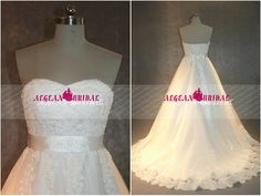 RW389 Lace Wedding Dress with Beading Top Ball Gown Puffy Bridal Dress Sweetheart Sequined Bridal Gown Lace Up Back Long Wedding Gown