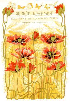 Otto Eckmann, Mohn, Lithographie Archiv für Buchgewerbe