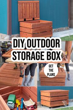 Learn how to build a DIY Outdoor storage box for patio, porch or deck for toys, packages and tools with the full tutorial, video and plans. #outdoorstorage #diystorage #AnikasDIYLife Woodworking Furniture Plans, Woodworking Projects That Sell, Beginner Woodworking Projects, Woodworking Ideas, Wood Projects For Beginners, Wood Working For Beginners, Easy Diy Projects, Project Ideas, Kreg Jig Projects