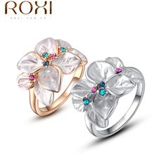 ROXI Exquisite rose golden colorful flower ring plated with AAA zircon,fashion jewelry for women. Gold Plated Rings, White Gold Rings, Silver Rings, Cheap Jewelry, Jewelry Rings, Body Jewelry, Fashion Rings, Fashion Jewelry, Peacock Ring