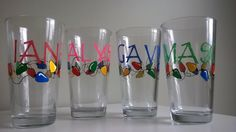 Cute holiday lights with custom names hand painted on these lovely drinking glasses.