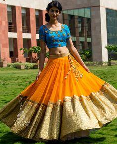 Not sure about the blouse, but the lehenga is fabulous! Half Saree Lehenga, Bridal Lehenga, Anarkali, Baby Lehenga, Lehenga Saree, Bridal Mehndi, Ghagra Choli, Sabyasachi Lehengas, Sharara