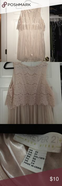 Plus size dress!! Cream colored! Never worn. Forever 21 Dresses Midi