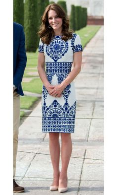 BLUE & WHITE  The classic pairing of white and blue in a floral motif immediately calls to mind memories of an ultimate summer escape – inspiration the duchess undoubtedly drew on when selecting outfits for her royal tour of India and Bhutan this past spring. She donned this romantic dress (right) by Indian-American designer Naeem Khan on the last day of her tour for a visit to the Taj Mahal. 2016