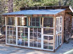 The Gardner's Dirt: Windows Repurposed. Something we could build. Old Window Greenhouse, Diy Greenhouse Plans, Lean To Greenhouse, Backyard Greenhouse, Recycled Windows, Old Windows, Allotment Shed, Traditional Greenhouses, Carport Plans